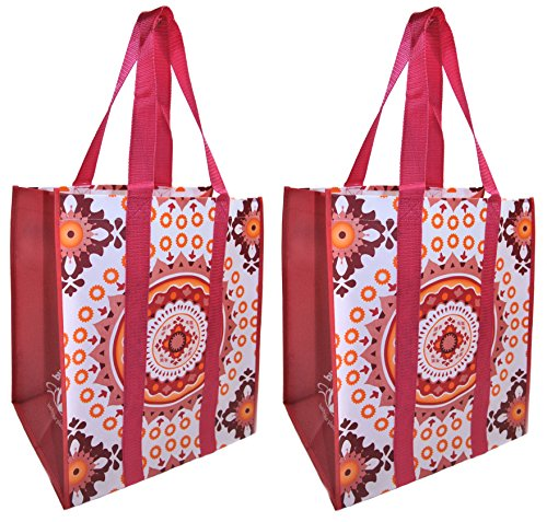 Reusable Grocery Shopping Bags - Premium Heavy Duty Wipe-clean Totes (2, coral medallion) - Grocery Bag Totes