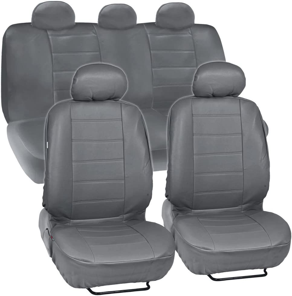 Gray 2 Front PU Leather Car Seat Covers for Acura #209B
