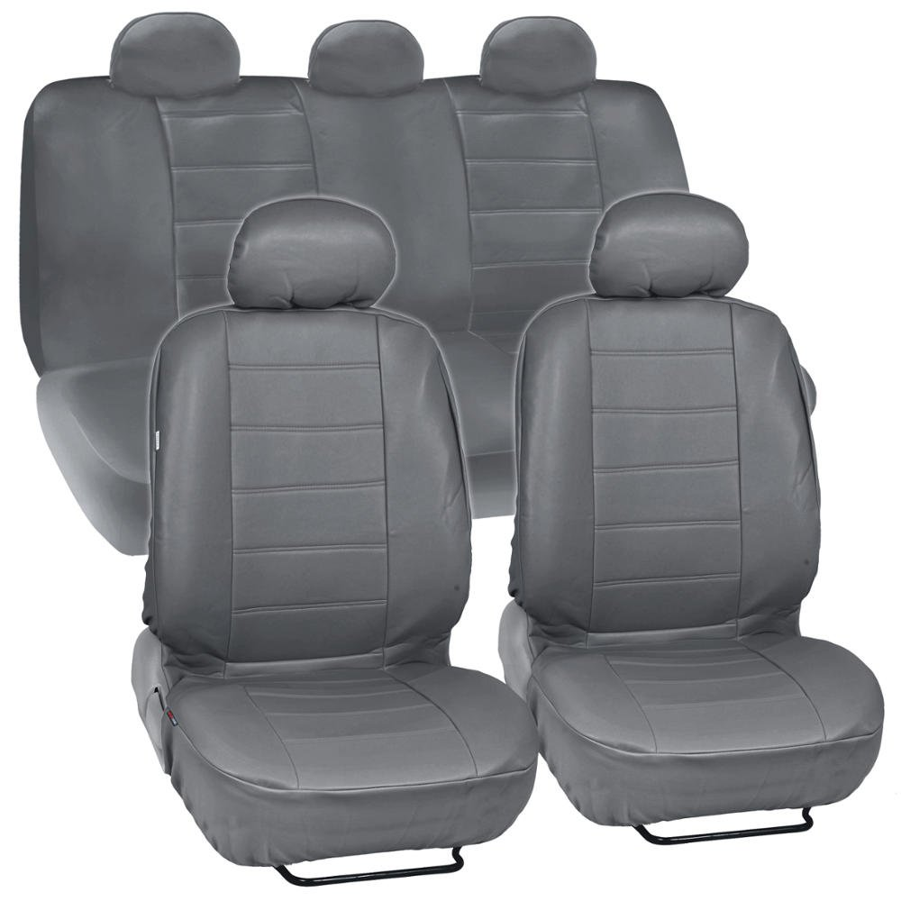 Amazon Gray Synthetic Leather Seat Covers For Car SUV Complete Set