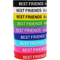 10 Mixed Color Best Friend Silicone Bracelet Wristbands