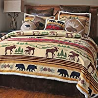 Mountain Wildlife Plush Bed Set - King