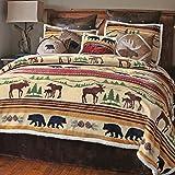 Black Forest Decor Mountain Wildlife Plush Bed Set - Twin