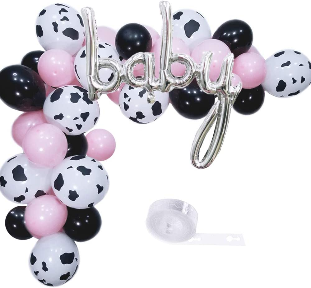 Elepplrty Cow Party Balloons 60 Pack, BABY Foil Balloons,Black Pink and 12inch Cow Print Latex Balloon,For Farm Birthday Party Theme,Baby Shower Supplies