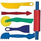 Gowi 185-15 Knetwerkzeug, Küchenspielzeug, 6-er Set, farblich sortiert