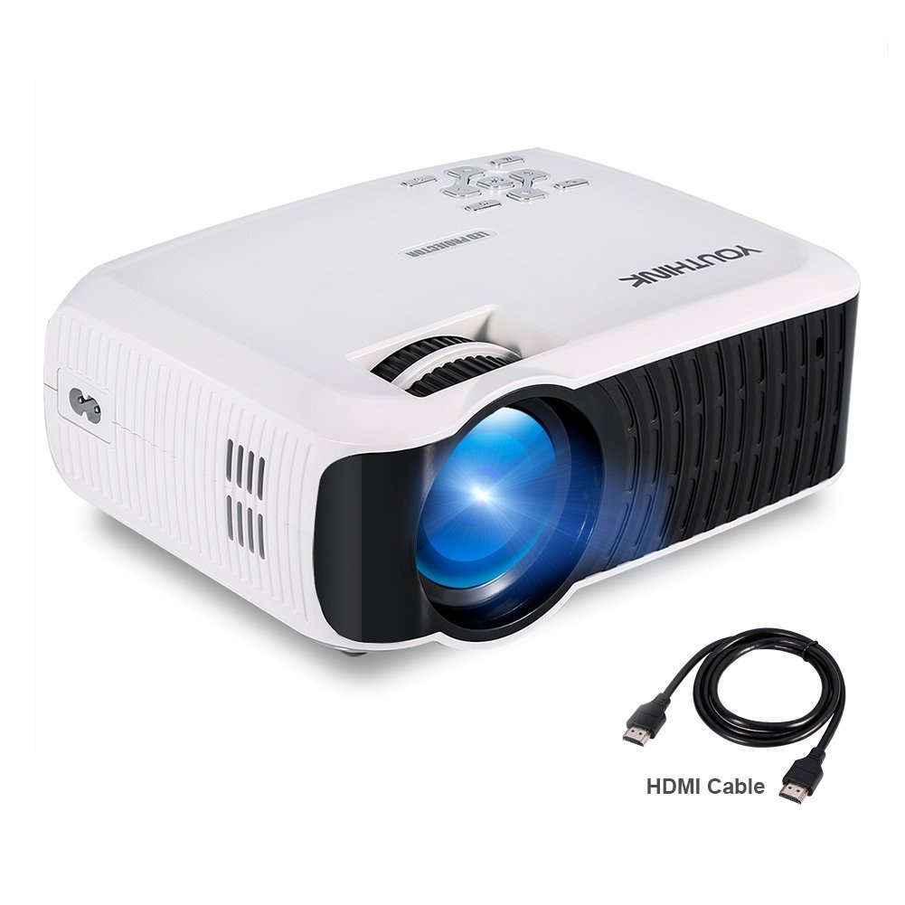 2000 Lumens LCD Mini Video Projector Support 1080P Portable LED Projector for PC Laptop iPhone Smartphone, Ideal for Home Cinema Theater, Full HD Game and Outdoor Movie Night with HDMI Cord (White) youthink us