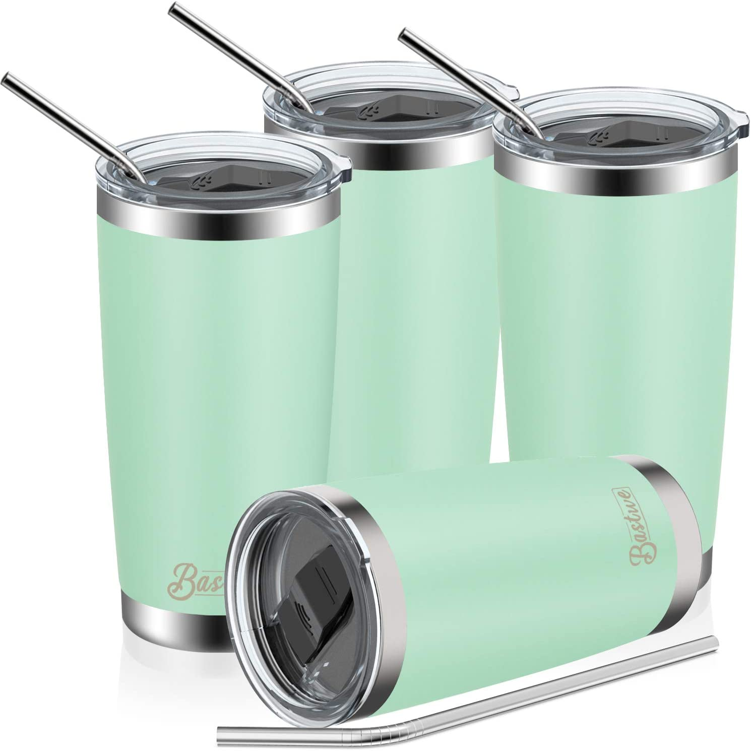 4 Pack 20oz Vacuum Insulated Tumblers, Bastwe Double Wall Stainless Steel Travel Mug with Lid and Straw for Home, Office, School, Works Great for Ice Drink, Hot Beverage (Seafoam)