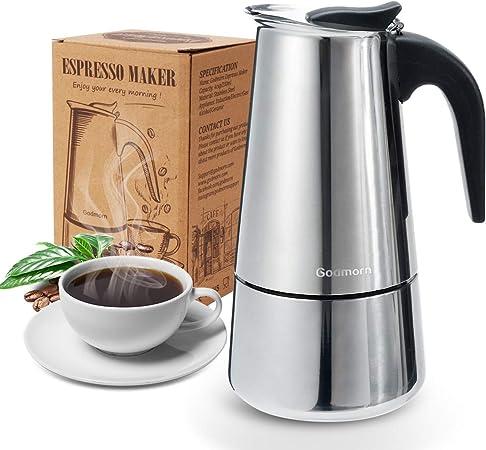 Godmorn Cafetera Italiana,Cafetera espressos en Acero inoxidable430,4tazas(Nota:1 Taza es 50ml),Conveniente para la Cocina de inducción,Cafetera Moka Clásica,Plata, Uso Doméstico y en la Oficina.: Amazon.es: Hogar