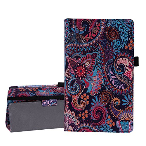 - HDE Case for All-New Amazon Fire HD 8 Tablet (7th Generation, 2017 Release) with Included Screen Protector - Leather Folio Protective Cover Stand for Fire HD 8 2017 (Purple Paisley)