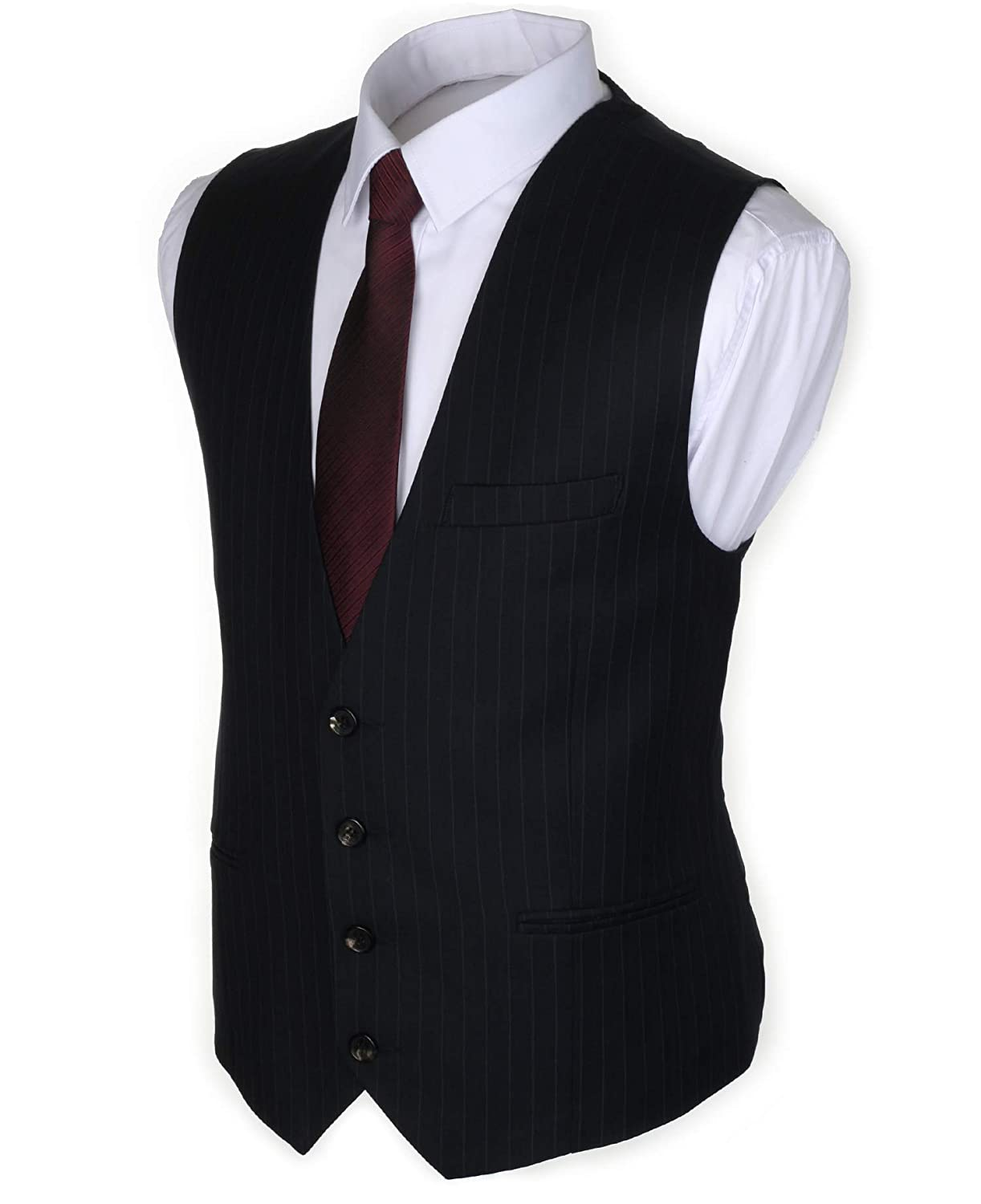 1920s Style Mens Vests Ruth&Boaz Mens 3Pockets 4Button Business Suit Vest $29.90 AT vintagedancer.com