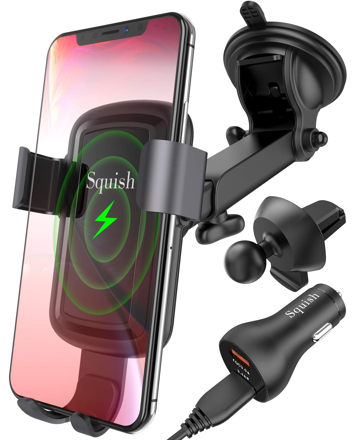 Squish Wireless Car Charger, Fast Charging Wireless Car Mount with Quick Charging 3.0 Car Charger, Air Vent Holder Included, Car Phone Mount for iPhone Xs MAX/XR/XS/X/8/8 Plus Samsung Galaxy S10/S9/S8 by Squish