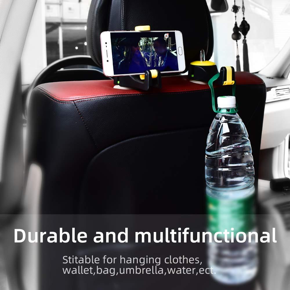 Beige HUIQIAODS Car Seat Hooks Car Back Seat Hanger Vehicle Universal Car Headrest Hooks Hanger for Holding Phones and Hanging Handbags Purses Bags Keys