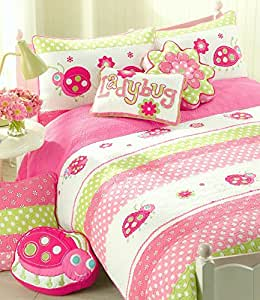 Cozy Line Home Fashions 5-Piece Pink Ladybug Quilt Bedding Set, Green Fuchsia Flower Embroidered 100% Cotton Bedspread Coverlet Gift Kids Girls (Twin - 5pc: 1 Quilt + 1 sham + 3 Decor Pillows)