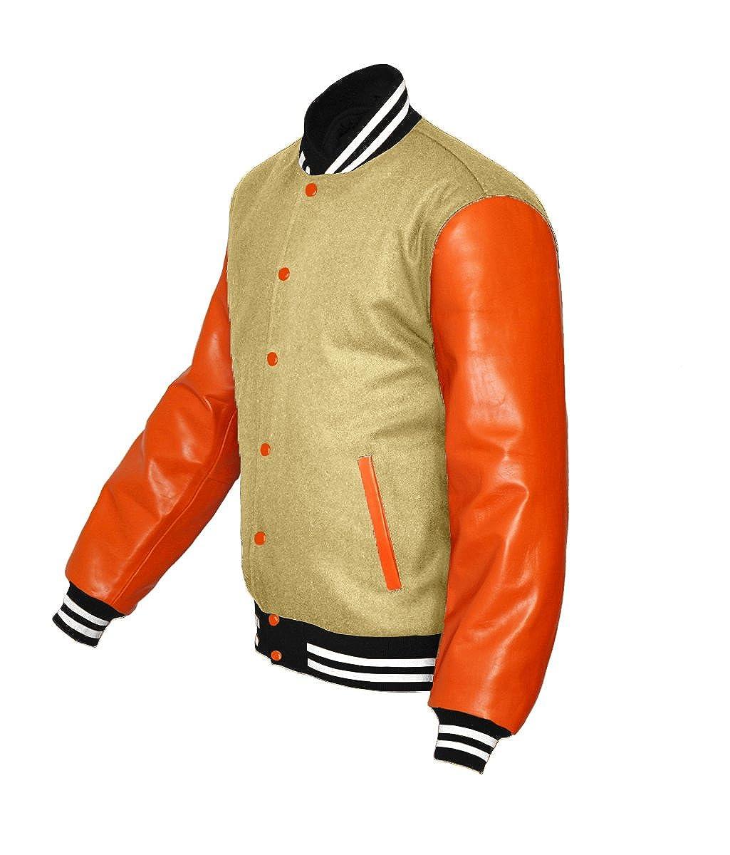 luvsecretlingerie Original American Varsity Real Orange Leather Letterman College Baseball Kid Wool Jackets #O-W-O