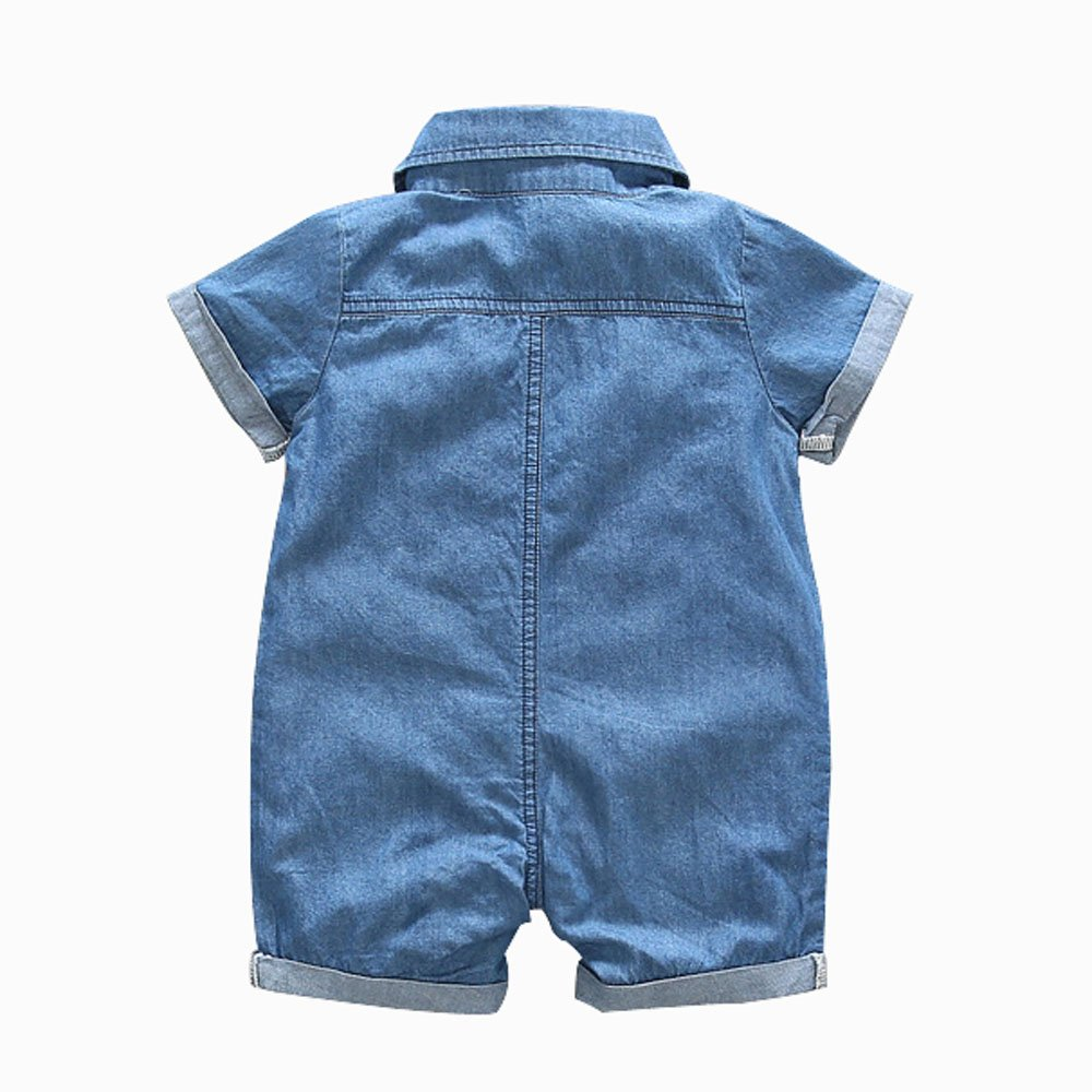 Ding-dong Baby Boy Girl Summer Denim Lapel Short Sleeve Romper