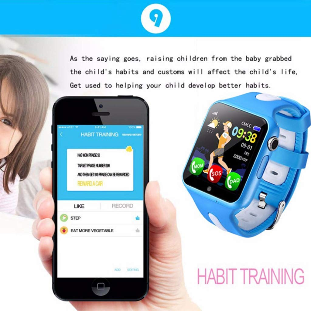SGYH GPS Watch Phone for Kids, HD Color Screen Smartwatch Voice Smart Watches Safety Anti-Lost Waterproof Tracker for Children Girls Boys Phone Watch for Android iOS (Black+Green) by SGYH (Image #4)