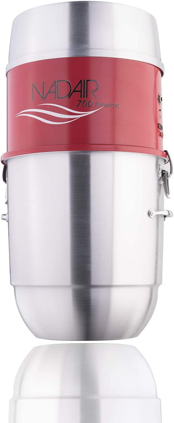 Nadair Large Capacity, 700 AW, Compact and Powerful Central Vacuum System, Hybrid Filtration (with or Without Disposable Bags), 22L or 8.5Gal 5.8 Gal, Spun Aluminum