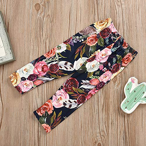 Toddler Baby Girls Outfit Sets Long Sleeve Ruffle Tops+Floral Pants+Bowknot Headband 3Pcs Infant Autumn Clothes