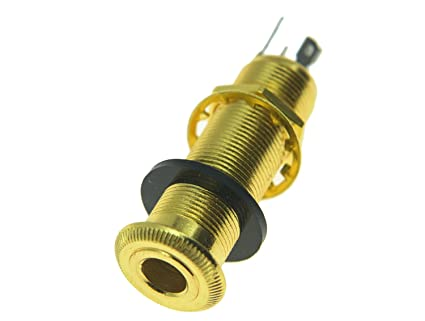 amazon com: kaish stereo copper guitar bass barrel jack cylinder input/output  jacks 4 pins gold: musical instruments