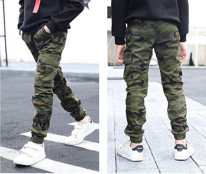 LAVIQK Boys Pull On Drawstring Jogger Pants Camo Print Cuff Jogging Bottoms