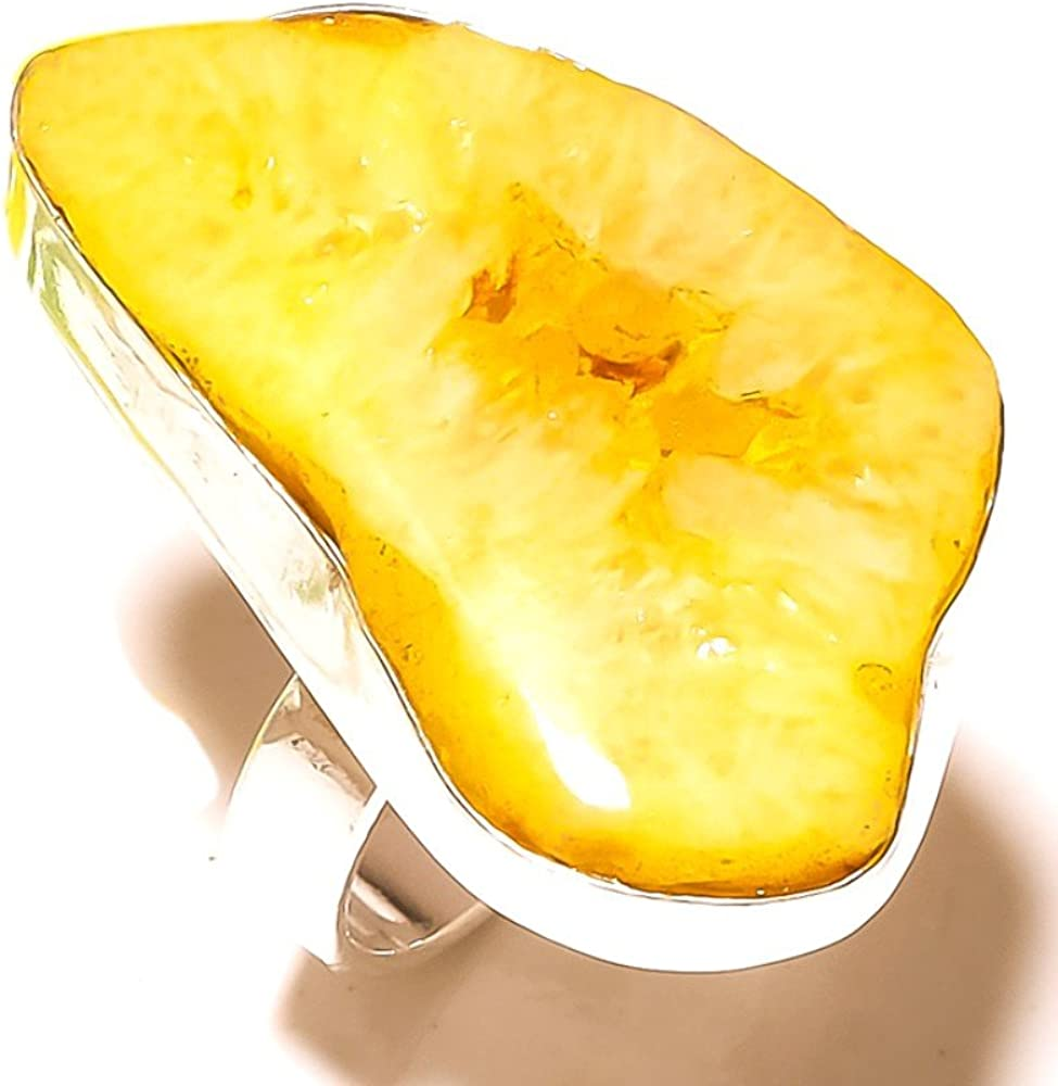 Sizable Stunning Yellow Solar Druzy Handmade Jewellry 925 Sterling Silver Plated 10 Grams Ring Size 8 US