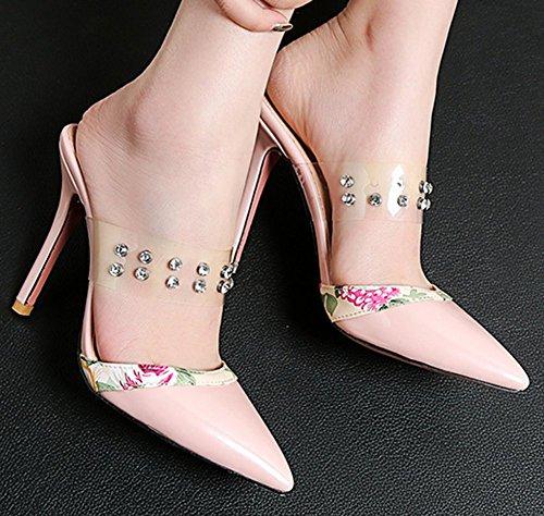 Easemax Femme Mules Abricot Transparent Stiletto Spécial Pointue Chaussure rr8dgw