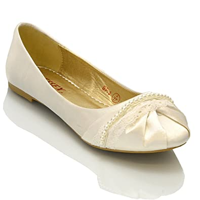 NEW WOMENS LACE PEARL WEDDING BRIDAL IVORY WHITE BALLERINA FLAT PUMPS SHOES SIZE 3 4 5