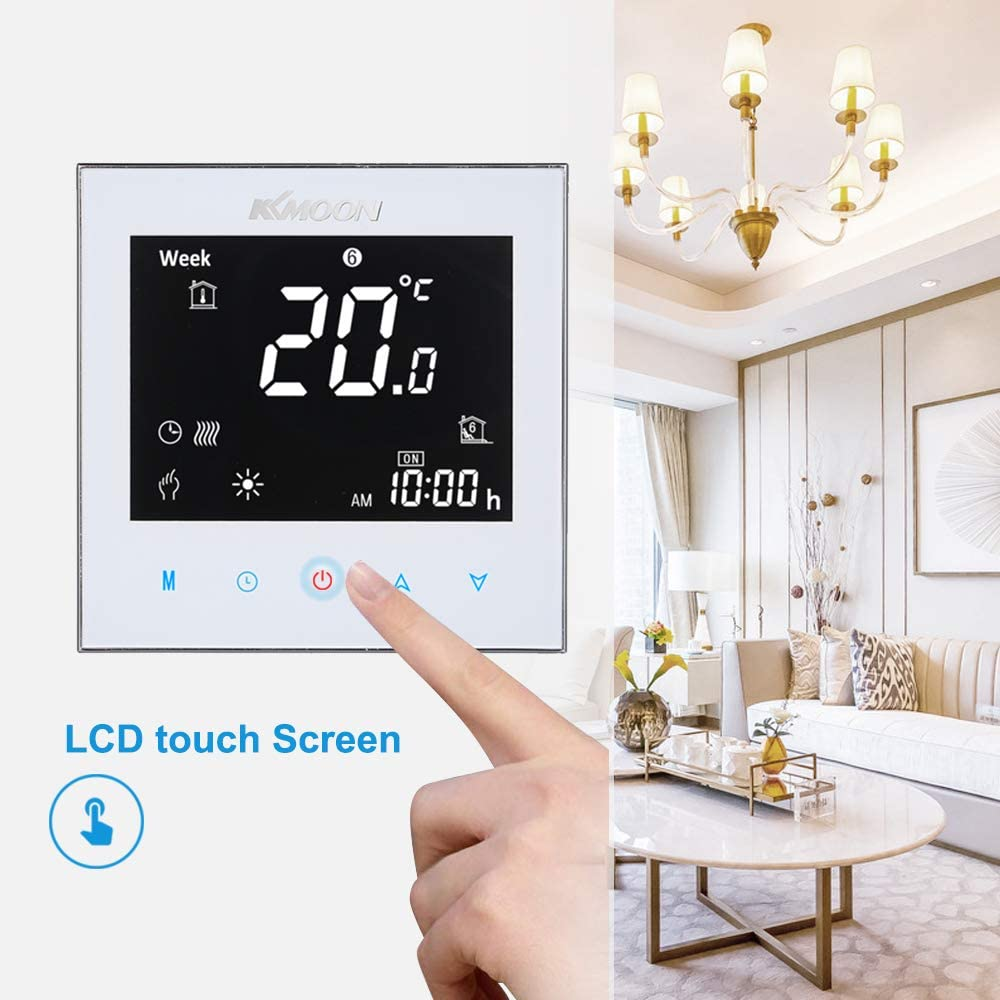 KKmoon Digital Underfloor Heating Thermostat for Electric Heating System Floor /& Air Sensor with WiFi Connection /& Voice Control AC 95-240V 16A Touchscreen LCD Display Room Temperature Controller
