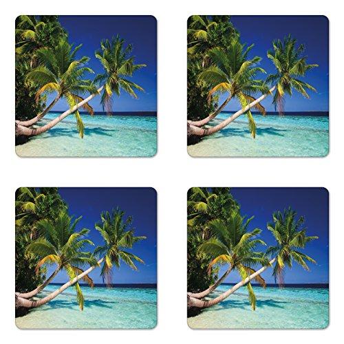 - Ambesonne Landscape Coaster Set of Four, Tropic Botanic Sandy Beach Island with Coconut Palm Trees Seaside Print, Square Hardboard Gloss Coasters for Drinks, Aqua Blue Green