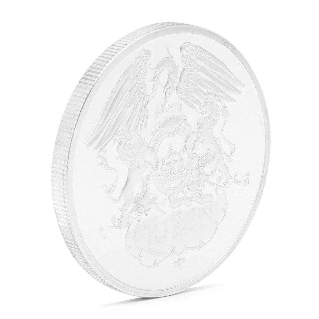 zijianZZJ Regalo Coleccionable Moneda Conmemorativa ba/ñada en Plata dise/ño de la Reina Brit/ánica