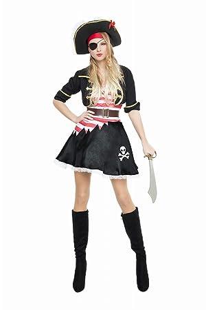 Disfraz de Pirata Casaca Negra para mujer: Amazon.es ...