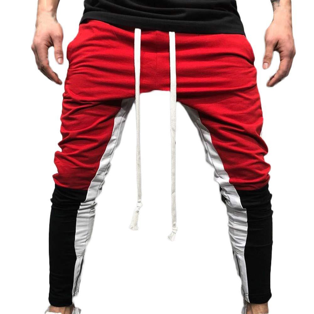 Photno Men's Slim Fit Pants Casual Colorblock Joggers Sweatpants Big and Tall Exercise Sports Trousers Slacks
