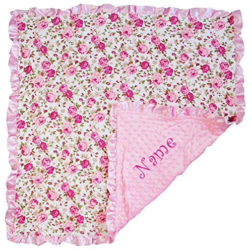 Personalized baby blanket amazon kirei sui personalized baby girl minky dots blanket rose negle Image collections