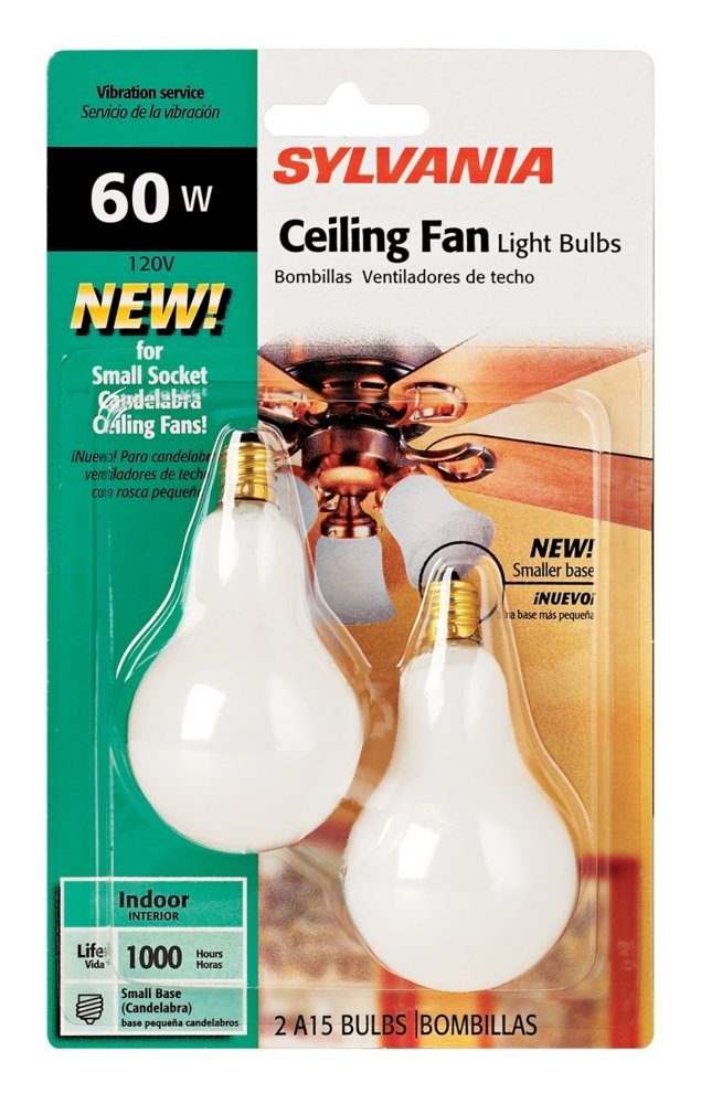 Sylvania 60 Watt Candelabra Ceiling Fan Light Bulbs, Sold as 4 Pack, 8 Lamps Total - - Amazon.com