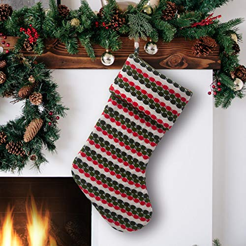 S-DEAL Wool Christmas Stocking Gift Holder Double 21 Inch Knitted Layers Mantel Decoration for Party Holiday Xmas Black Green Red and Beige