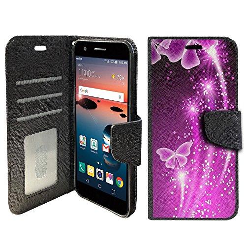 TNSO Phone Case Compatible with Alcatel Raven LTE, Alcatel Fiji, Alcatel IdealXcite [Magnetic Shut Folio Case] Leather Case [Clip Folio] Kickstand Secure ID Case - Butterfly Galaxy