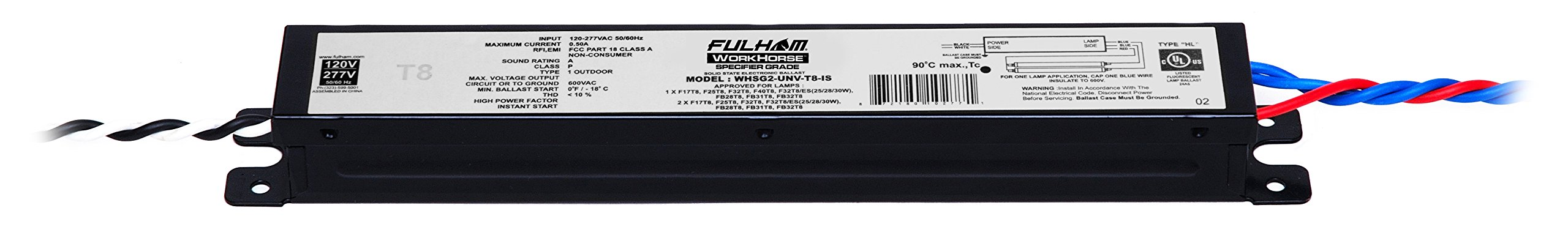 Fulham Specification Grade Linear T8 Ballast, WHSG2-UNV-T8-IS