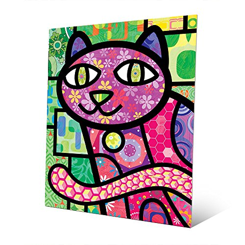 Quilted Purple Kitty On Green: Calico Cat Cartoon Graphic Drawing in