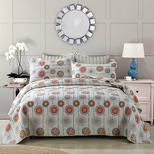 Gypsy Floral Bedding Collection (DaDa Bedding Bohemian Bedspread Set - Cosmic Sun Stars Floral Coverlet - Bright Vibrant Multi Colorful - Solid Grey & Orange Yellow - Queen - 3-Pieces)