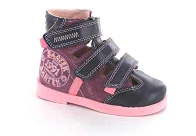 8067dfaa8da Bartek Girls Orthopedic Leather Shoes Closed Toe Sandals with Arch Ankle  Support Pink 71326 75H