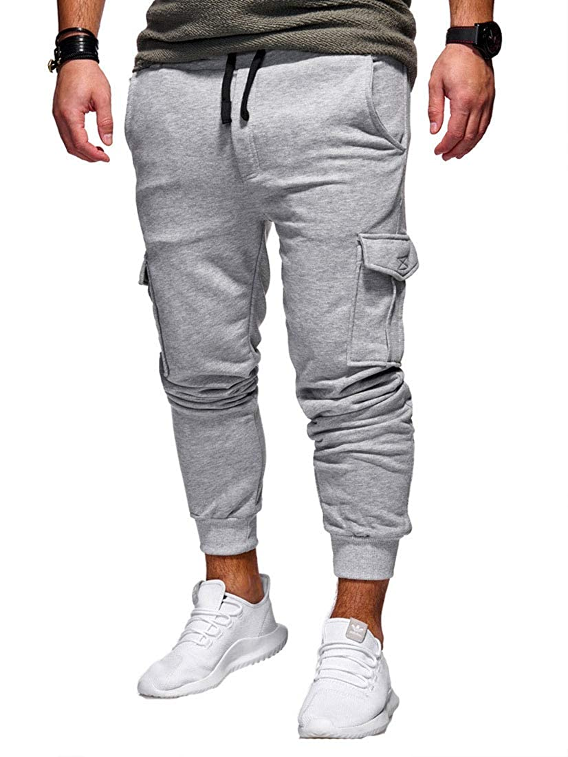 goldenharvest GH Mens Solid Color Plus Size Casual Athletic with Pocket Long Pants