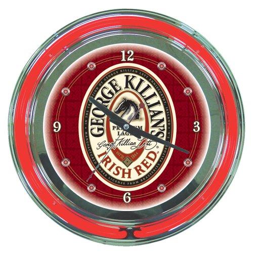 (George Killian's Irish Red Chrome Double Ring Neon Clock, 14