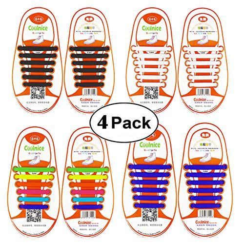 Shackcom No Tie Flat Elastic Shoelaces 4 Packs for Kids or Youth, Waterproof and Stretchy Silicone Tieless Shoe Laces for Sneakers, Converse, Dress Shoes, Boots, Eliminate Loose Shoelace Accidents