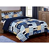 3 Piece Nautical Patchwork Design Comforter Set Full Size, Featuring Sailor Themed Bedding, Boats Dolphins Sharks Anchor Helm Ships Steering Wheel Abstract Print, Kids Adventure Motif, Blue, Yellow