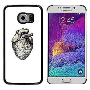 Paccase / SLIM PC / Aliminium Casa Carcasa Funda Case Cover - White Drawing Human Heart Anatomy - Samsung Galaxy S6 EDGE SM-G925