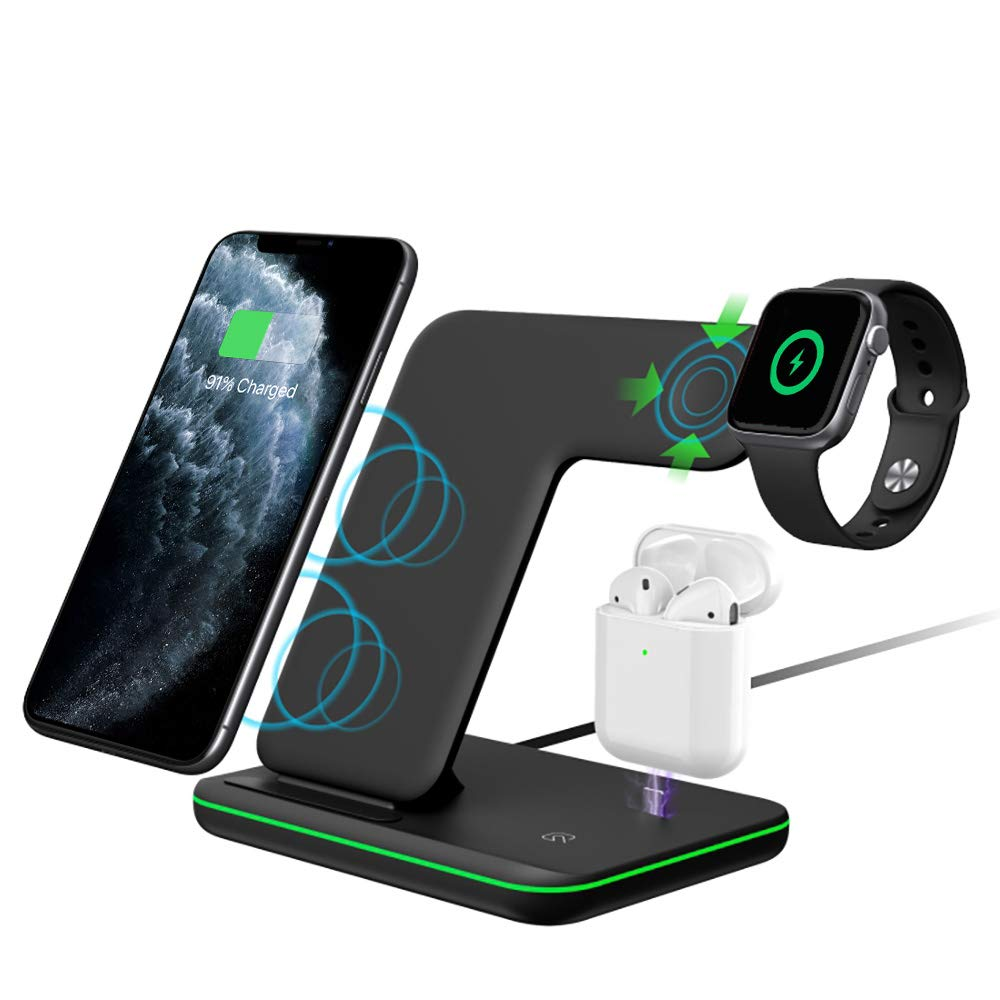 Intoval Wireless Charger,Wireless Charging Stand for Apple Watch Series 5 4 3 2 1/Airpods,Qi Fast Wireless Charging Station for iPhone 11Pro/11Pro Max/XR,Galaxy S10 and All Qi-Enabled Phones. by Intoval