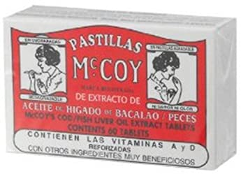 Pastillas McCoy Cod/Fish Liver Oil Extract Tabs 60 ea (Pack of 2)