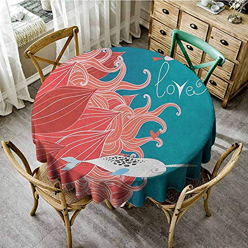 ScottDecor Christmas Tablecloth Narwhal Love Themed Sketch Illustration with Arctic Whale Bird and Floral Arrangement Teal Coral White Pattern Round Tablecloth Diameter 70