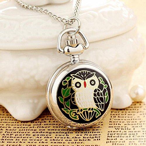 Custom Photo flip Ultra-Cute Green owl Pocket Watch Necklace Pendant Retro Enamel Pocket Watch Men Women Watch Gift