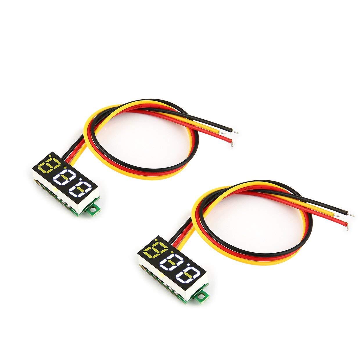 Lorenlli 2PCS 100V 0.28in 3 Wire LED Digital Display Panel Voltmeter Electric Voltage Meter Volt Tester for Auto Battery Car Motorcycle