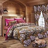 20 Lakes Hunter Camo Comforter, Sheet, Pillowcase Set Lavender & Hot Pink (Full, Lavender/Hot Pink)